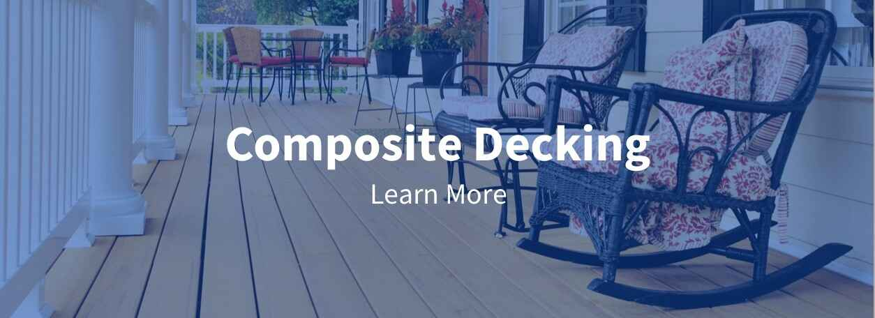 Composite Decking title with front porch deck with white railings - click to learn more