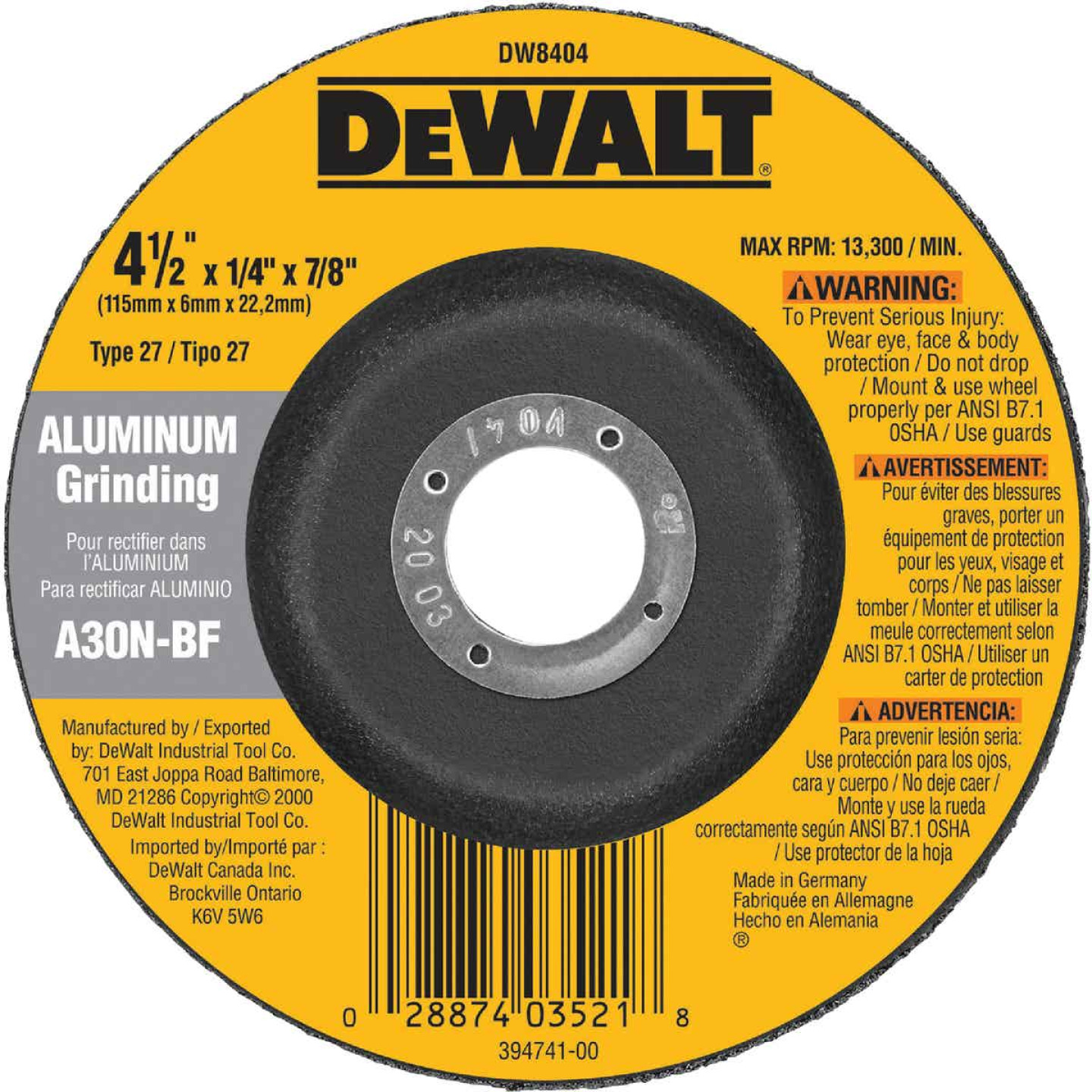 DeWalt HP Type 27 4-1/2 In. x 1/4 In. x 7/8 In. Aluminum Grinding Cut-Off Wheel Image 2
