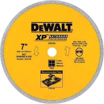 DeWalt Extended Performance 7 In. Continuous Rim Dry/Wet Cut Tile Diamond Blade