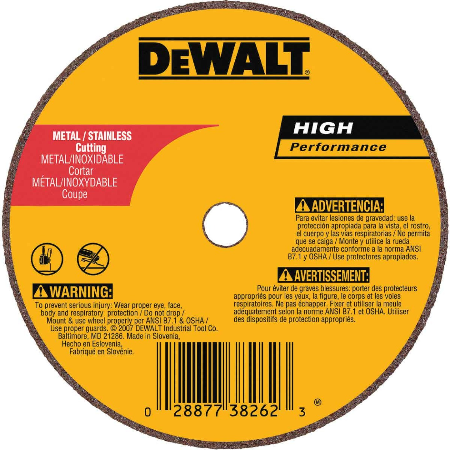 DeWalt HP Type 1 4 In. x 1/16 In. x 5/8 In. Metal/Stainless Cut-Off Wheel Image 1