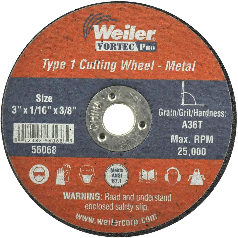 Weiler Vortec Type 1 3 In. x 1/16 In. x 3/8 In. Metal/Plastic Cut-Off Wheel Image 1