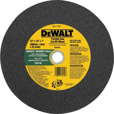 DeWalt HP Type 1 12 In. x 1/8 In. x 1 In. Masonry Cut-Off Wheel