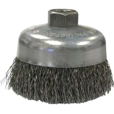 Weiler Vortec 6 In. Crimped 0.02 In. Angle Grinder Wire Brush