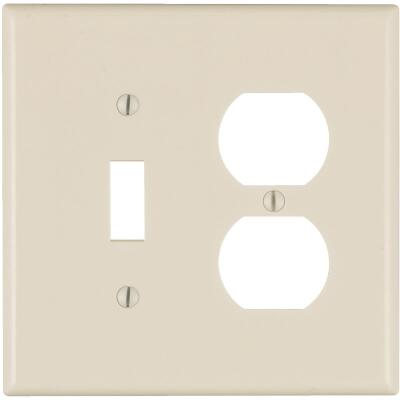 Leviton Mid-Way 2-Gang Thermoset Single Toggle/Duplex Outlet Wall Plate, Light Almond