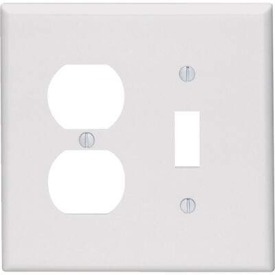 Leviton Mid-Way 2-Gang Thermoset Single Toggle/Duplex Outlet Wall Plate, White
