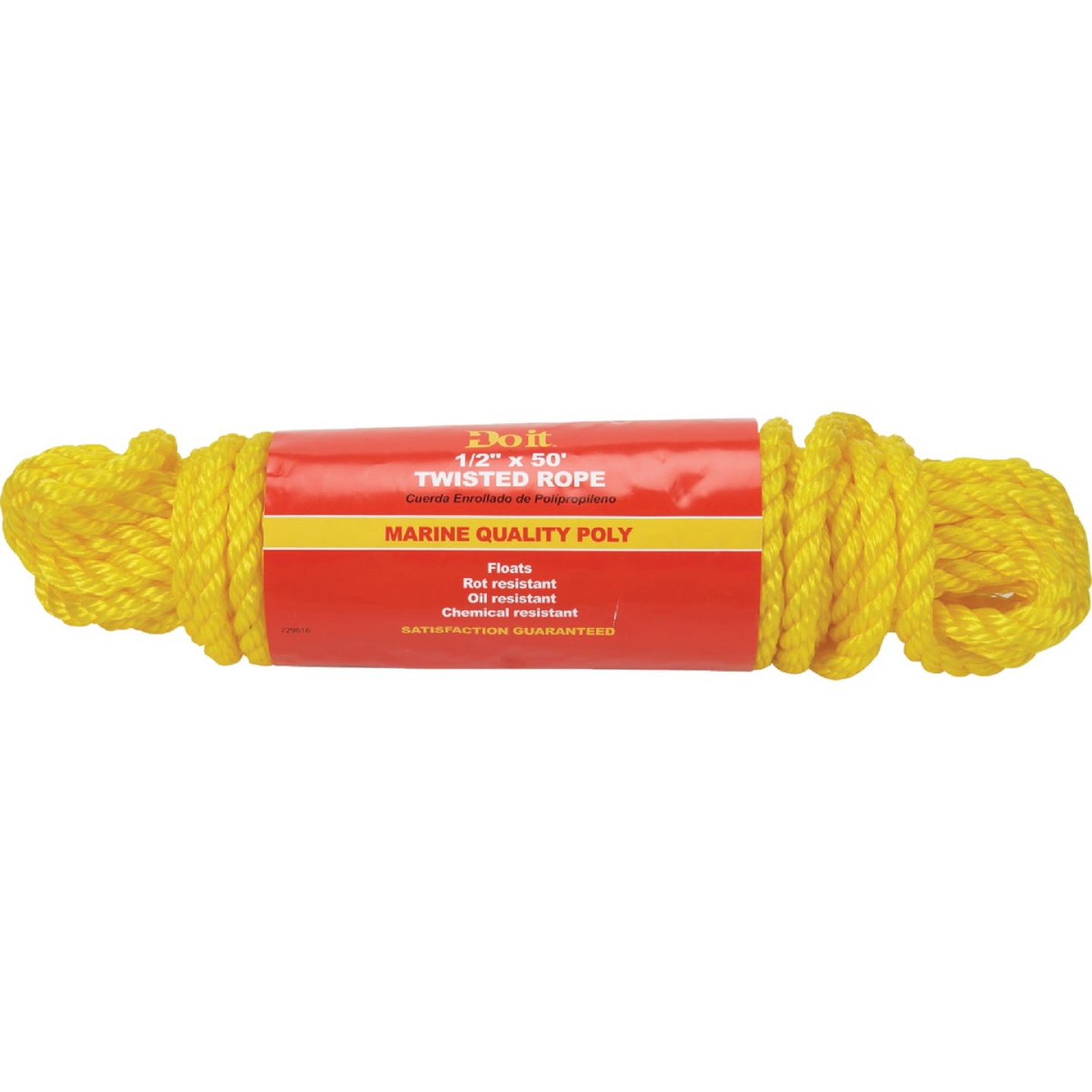 Do it 1/2 In. x 50 Ft. Yellow Twisted Polypropylene Packaged Rope Image 1