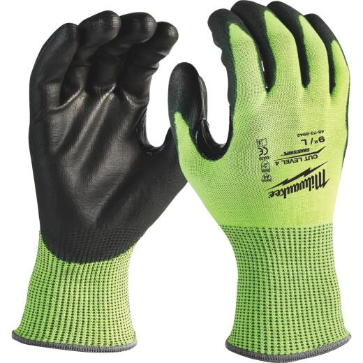 Milwaukee Men's Large Cut Level 4 High Vis Polyurethane Dipped Glove